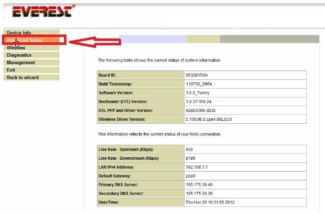 Everest SG-1600 Modem Kurulumu Resimli Anlatım, everest-sg-1600 arayüz, everest-sg-1600 kablosuz ayarı, everest-sg-1600 kablosuz modem kurulumu, everest-sg-1600 modem şifresi
