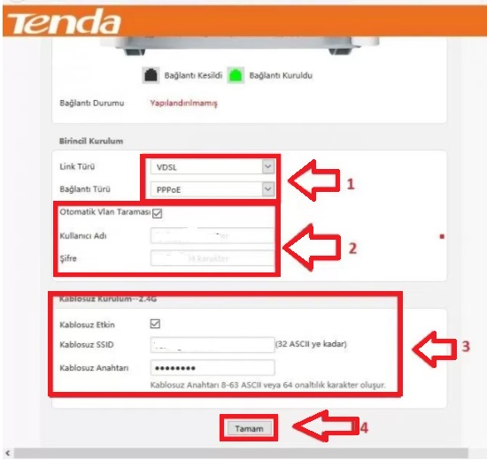 Tenda V300 Modem Kurulumu Resimli Anlatım, tenda modem ayarı, tenda v300 modem, tenda v300 modem şifresi, modem şifre değiştirme, kablosuz şifre değiştirme, tenda v300 kablosuz modem ayarı