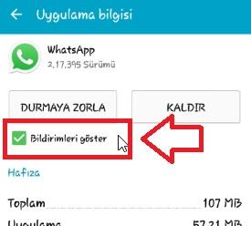 whatsapp sohbet bildirimi kapatma