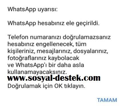Whatsapp hesabınız ele geçirildi diyor, whatsapp ele geçirildi, whatsapp çalındı, hesabınız ele geçirildi, whatsapp çalındı uyarısı, whatsapp çalındı bilgisi