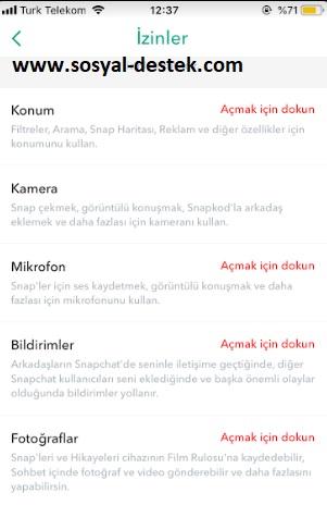 snapchat izinleri bulamıyorum, snapchat her şeye izin verme, snapchat yönet nerede, snapchat izinleri açma, snapchat izinler nasıl açılır