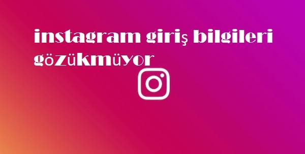 instagram giriş bilgileri gözükmüyor