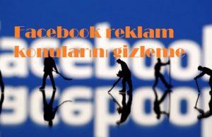 Facebook reklam konularını gizleme