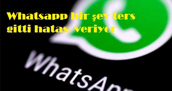 Whatsapp bir şey ters gitti hatası veriyor