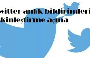 Twitter anlık bildirimleri etkinleştirme açma