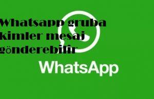 Whatsapp gruba kimler mesaj gönderebilir