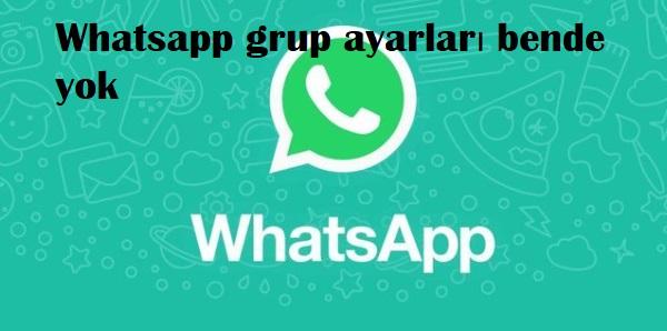 Whatsapp grup ayarları bende yok
