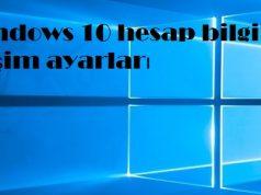 Windows 10 hesap bilgileri erişim ayarları