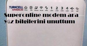 Superonline modem ara yüz bilgilerini unuttum