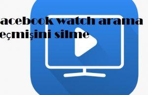 Facebook watch arama geçmişini silme