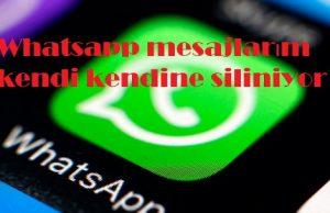 Whatsapp mesajlarım kendi kendine siliniyor