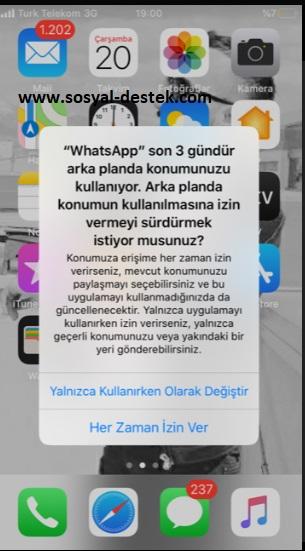 Whatsapp arka planda konumunuzu kullanıyor, whatsapp 3 gündür konum kullanıyor, whatsapp 3 gün uyarısı, whatsapp konumu kullanıyor, whatsapp konumu kullanmasın