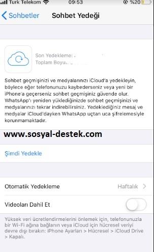 Whatsapp yedeklemeye videoları ekleme, whatsapp videolarını yedekleme, whatsapp videolarda yedeklensin, whatapp yedeklemeye videoları dahil etme