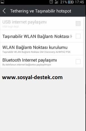 Android mobil paylaşım şifresini değiştirme