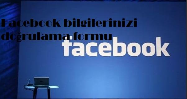 Facebook bilgilerinizi doğrulama formu