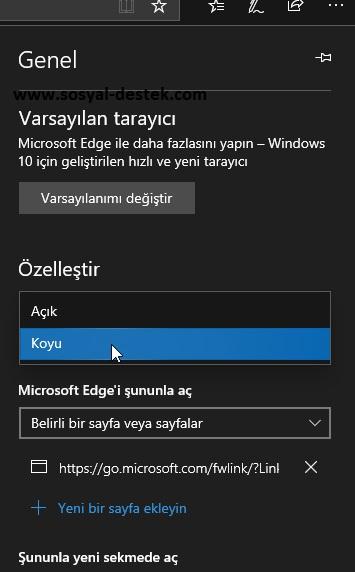 Microsoft edge karanlık modda açılmasın