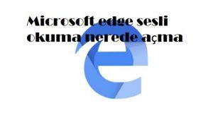 Microsoft edge sesli okuma nerede açma