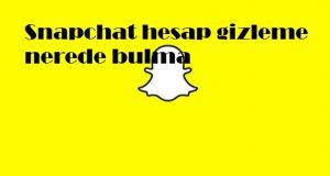 Snapchat hesap gizleme nerede bulma