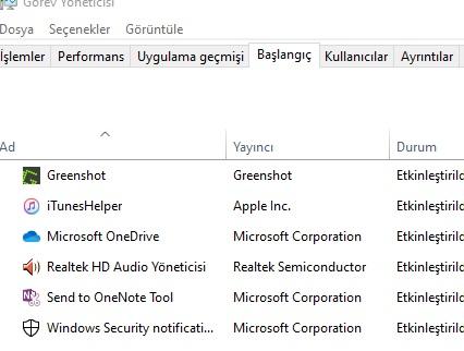 Windows 10 başlangıçta çalışan uygulamaları kaldıramıyorum