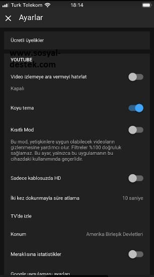 youtube karanlık mod gelmesin