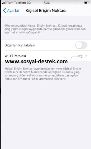 iPhone kişisel erişim noktasın şifresini değiştiremiyorum