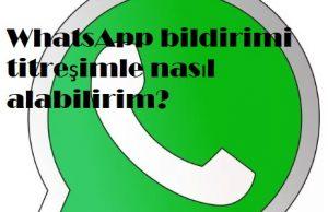 WhatsApp bildirimi titreşimle nasıl alabilirim