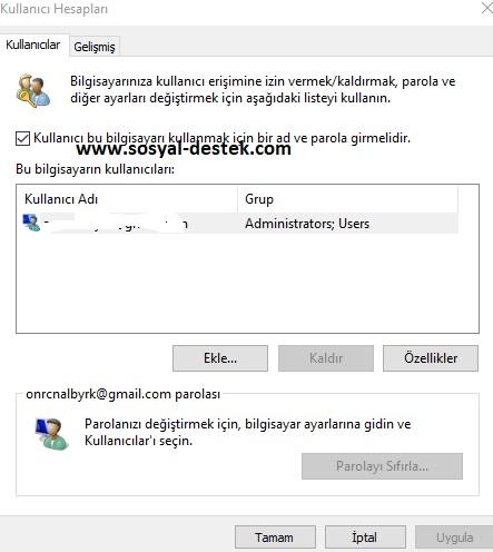 windows 10 giriş şifresi sormasın