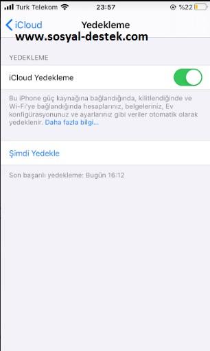 iCloud yedekleme yapmasın kapatma