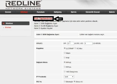 Redline RL-WMR2300 arayüz