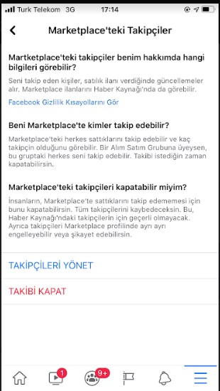 Facebook Marketplace takibi kapatma kapatamıyorum