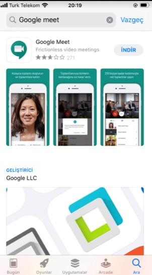 Google Meet yükleme indirme hata veriyor