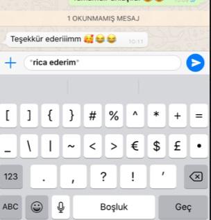 whatsapp yazı kalın yapma