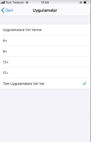 iPhone uygulamaları sınırlandırma saklama