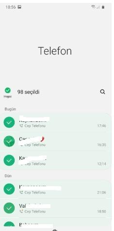 android arama geçmişini silme
