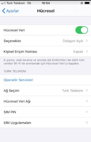 uluslararası dolaşımı kapatma iphone