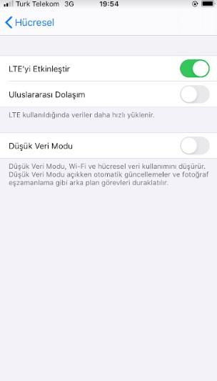 iPhone uluslararası dolaşımı kapatma