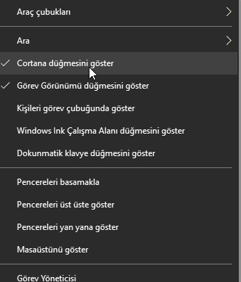 Windows 10 cortana görünmesin veya çıkmasın