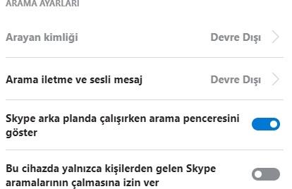 Skype arama penceresi görünmesin