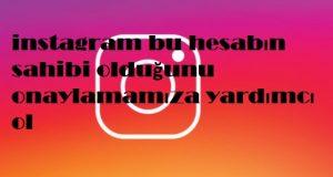 instagram bu hesabın sahibi olduğunu onaylamamıza yardımcı ol