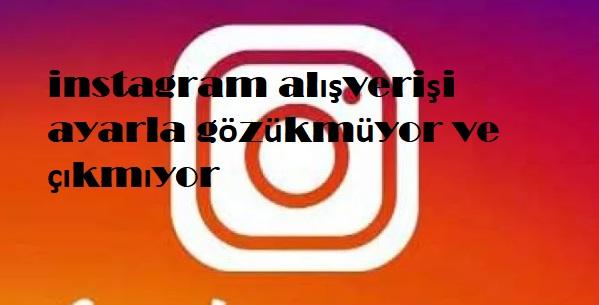 instagram alışverişi ayarla gözükmüyor ve çıkmıyor