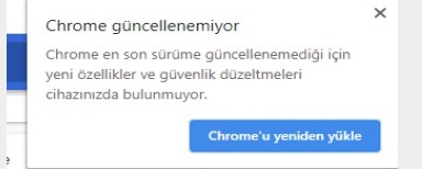 Google chrome güncellenemiyor