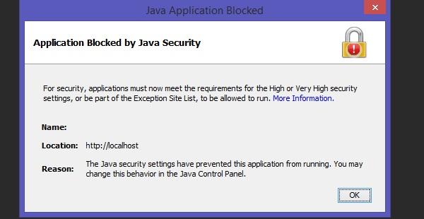 Java Application Blocked by Java Security hatası