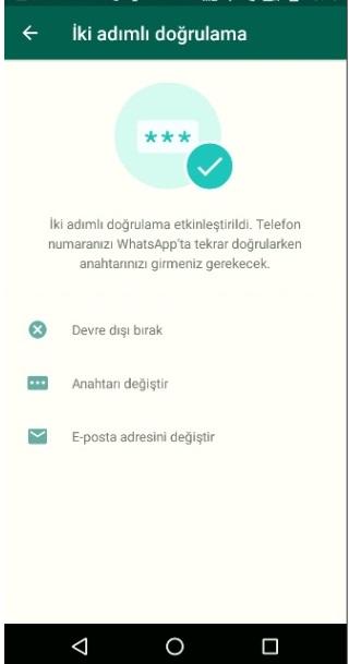 Whatsapp iki adımlı doğrulamayı kapatma