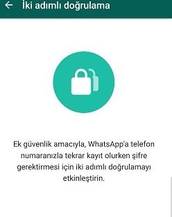 Whatsapp iki adımlı şifreyi değiştirme