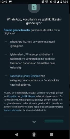 Whatsapp koşulları ve gizlilik ilkesini güncelliyor uyarısı