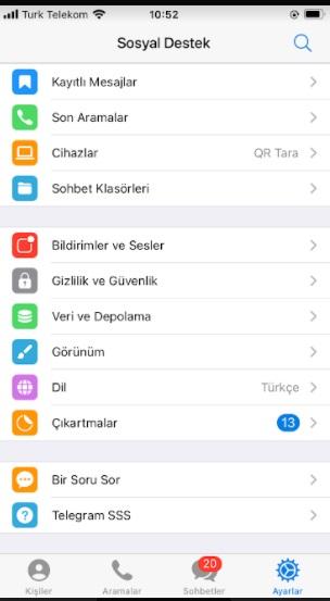 Telegram dil değiştirme