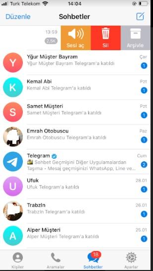 Telegram gruptan çıkma