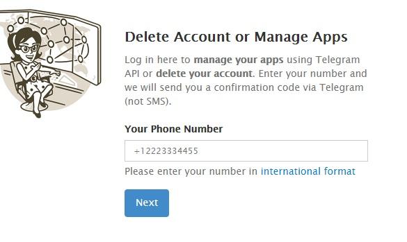 Telegram hesabını kapatma