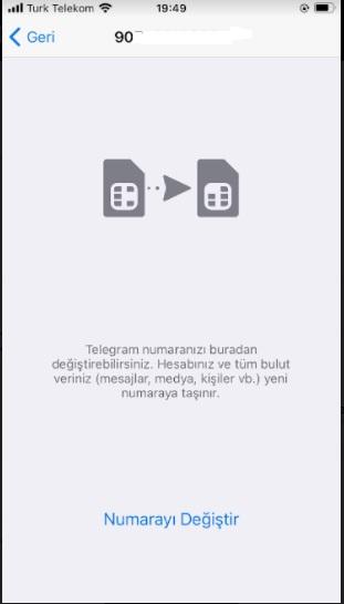 Telegram numara değiştiremiyorum