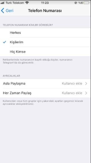 Telegram numaram görünmesin ve çıkmasın